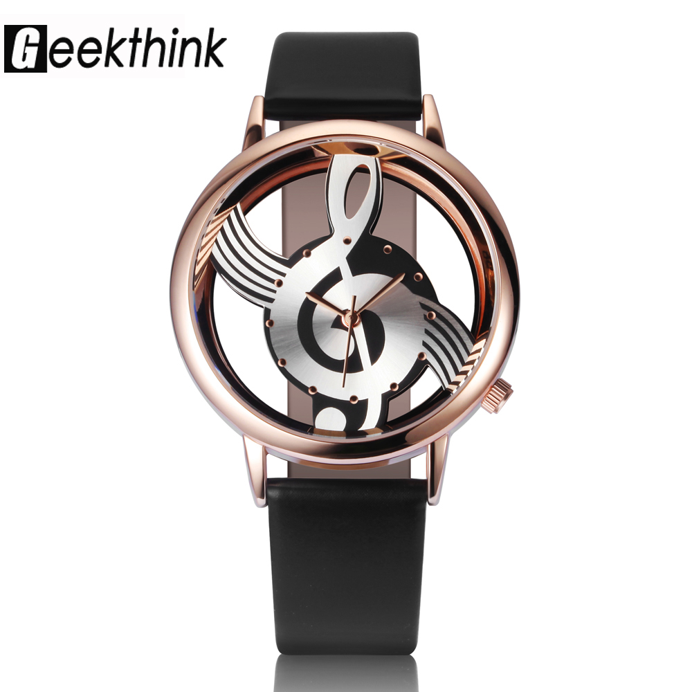 Unik Woman Quartz Analog Hollow Musical Note Style läder WristWatch - Damklockor