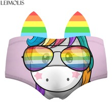 LEIMOLIS unicorn rainbow funny print sexy hot ear panties female kawaii Lovely underwear push up briefs women lingerie thongs