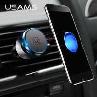 Soporte magnético para coche USAMS soporte para teléfono giratorio 360 soporte Universal para ventilación de aire soporte magnético para coche para iphone 5 6 7 Samsung