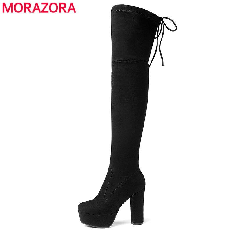 Taille 34-43 nouveau 2019 au-dessus du genou bottes femmes Faux daim cuissardes bottes plate-forme Stretch Slim Sexy dames bottes d'hiver pour femmes