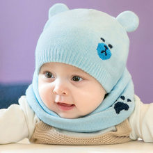 2Pcs/set Winter Warm Knitted Baby Hat Scarf Cute Cat Bear Ears 0-6 Months Baby Bonnet Newborn Boy Girl Hat Cap Beanie(China)