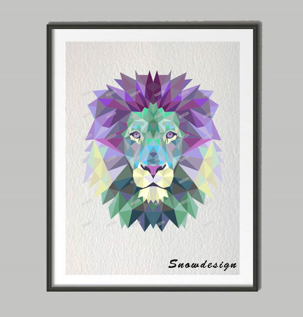 Low Poly Geometric Coral Purple Lion Canvas Painting Wall Art Poster Print  Pictures Living Room Home