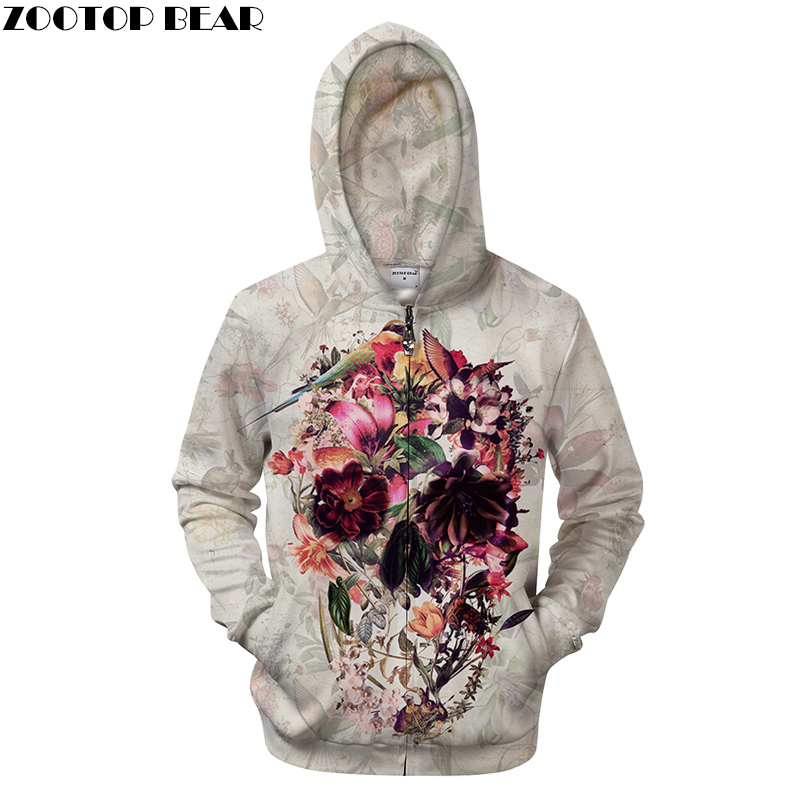 2019 Grotto Flower By ALI Artist Unisex Zip Hoodie Super Warm 3D Print Skull Sweatshirts Coat Men Casual Streetwear Clothes 2018