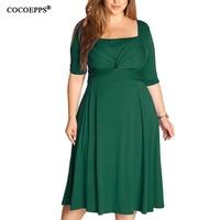 COCOEPPS Big Large Size Women Dress 2017 Elegant Solid Square Collar Women Clothing Summer Casual Sheath