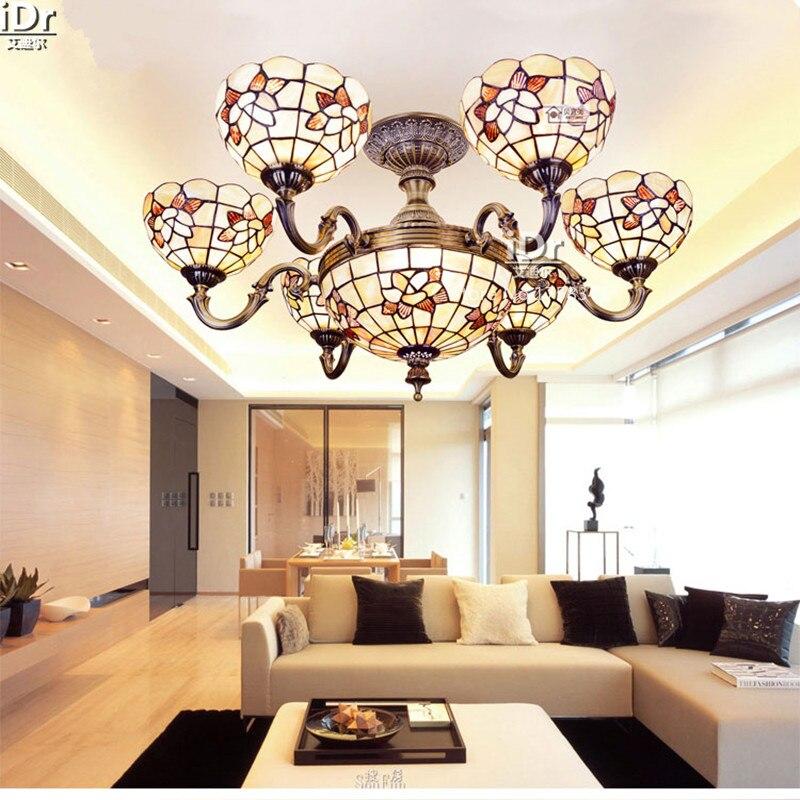 Vintage Sechs Jade Wohnzimmer Scheinwerfer Verbringen Half Shell Lampe 33 Zoll Mittelmeer Kronleuchter Hochwertigen Licht