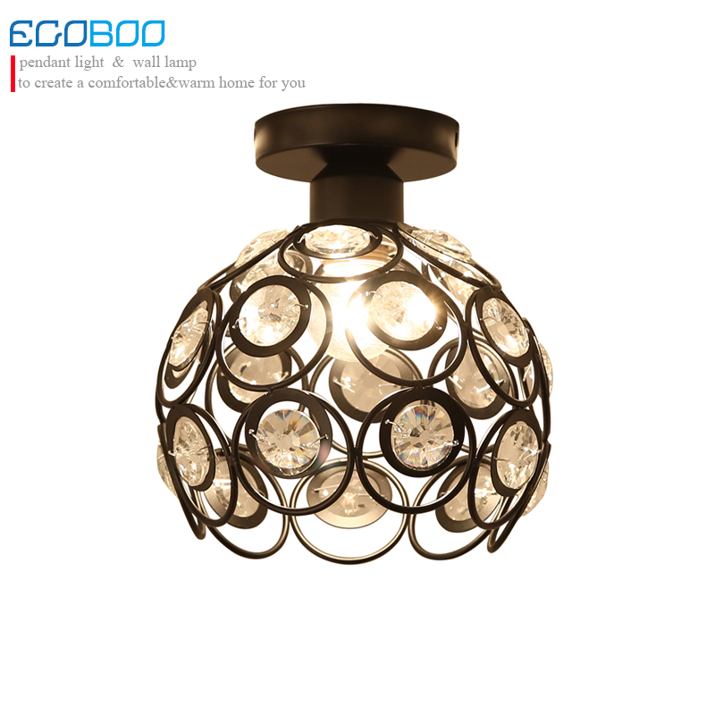 Modern K9 crystal  black/white led ceiling lamp with E27 Socket fashionable iron restaurant balcony study corridor hall lighting