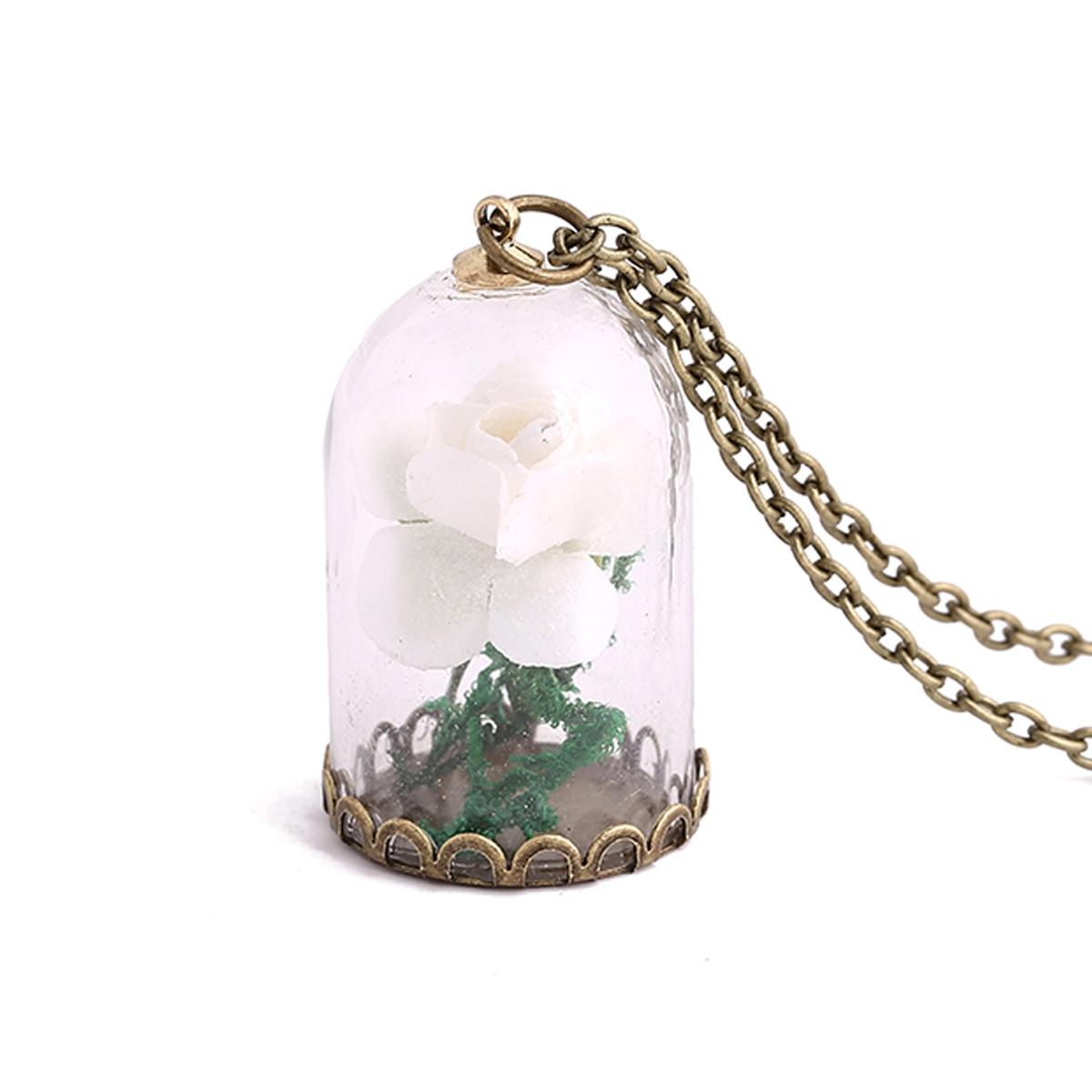 Vintage Glow In The Dark Jewelry Luminous Flower Pendant Necklace Glass  Wishing Bottle Chain Long Statement