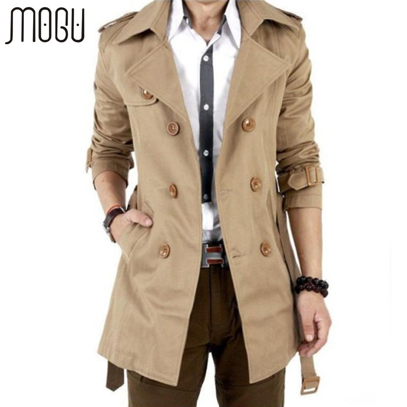 MOGU Trench Coat Men Autumn Spring Double Breasted Outerwear Casual Jackets