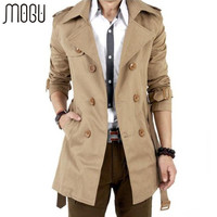 MOGU Trench Coat Men Autumn Spring Double Breasted Men Outerwear Casual Coat Men's Jackets Windbreaker Mens Trench Coat