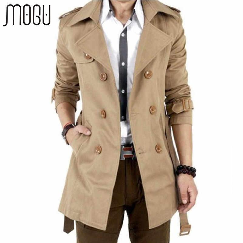 a296837199e MOGU Тренч мужской осень весна двубортный Мужской Верхняя одежда  повседневное пальто мужские куртки ветровка мужская s