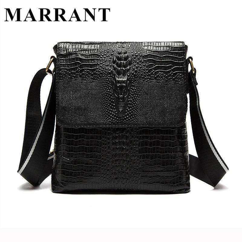 ФОТО MARRANT Genuine Leather Men Bags Leather Men's Messenger Bags Brand Crossbody Shoulder Bag Causal Alligator Pattern Handbag