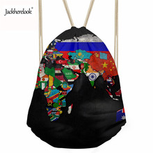 Jackherelook Linen Drawstring Bag Men Travel Shopping Bags 3D Retro Map Pattern Kids Boys Drawstring Storage Backpack Pouch Gift