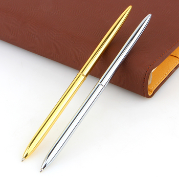 slim light Gold and silver color rotating ballpoint pen slender commercial metal ballpoint pen black oily pen gift Free shipping цена 2017