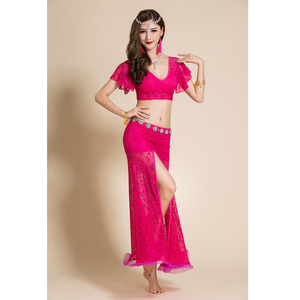 Image 4 - 2 adet Kadın Oryantal dans kostümü Dantel Üst Uzun Etek Seksi Kıyafetler Giyim V Yaka Bellydance Dans Elbise Dansçı Giymek