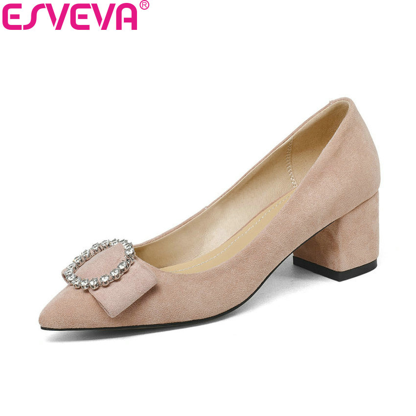 ESVEVA 2018 Women Pumps Shoes Slip on Crystal Sweet Style Slip on Square High Heels Flock Pointed Toe Women Shoes Size 34-43 2017 shoes women med heels tassel slip on women pumps solid round toe high quality loafers preppy style lady casual shoes 17