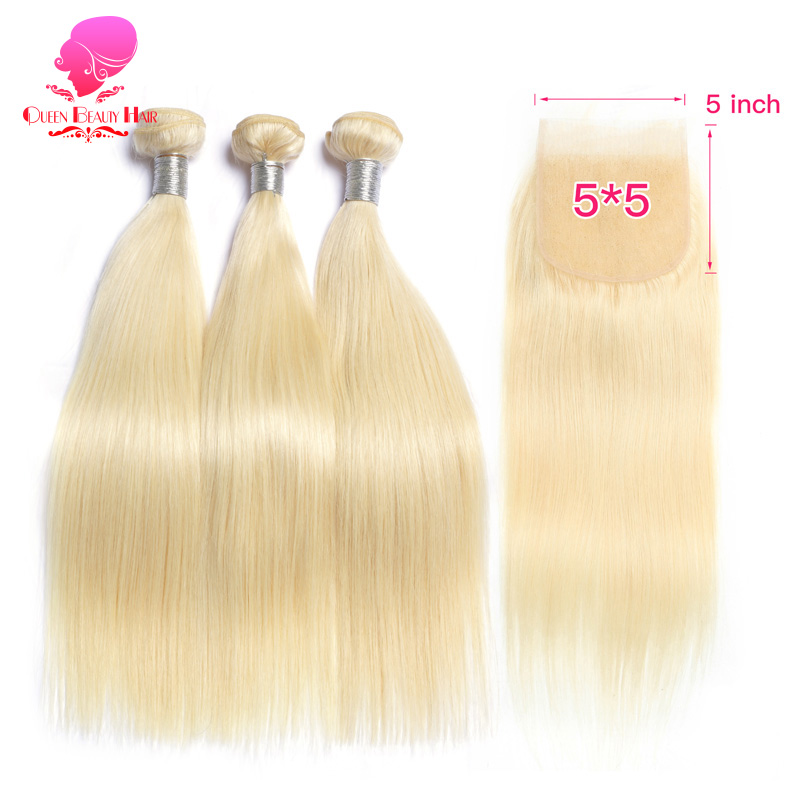 QUEEN Blonde 613 Honey Color 8 40 Inch Remy Human Hair Weave 2 3 4 Brazilian