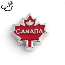 Free Shipping !! (20pcs/lot) 2016 CANADA Maple Leaf Floating Charms For Floating Glass Locket MFC2180(China)
