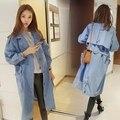 2016 Primavera Outono Mulheres de Design de Moda de Nova Streetwear Jean Trench Coat Senhoras Solto Denim Outwear Casaco com Alça de Cintura