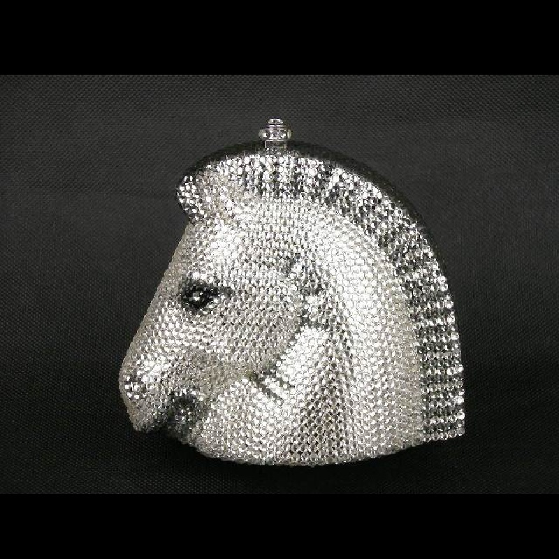 ФОТО Crystal HORSE head Wedding Bridal Party Night Silver Metal Evening purse clutch bag case box handbag
