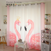 Personal Tailor 2x Window Drapery Nursery Girl Children Room Curtain Window Dressing Covering Tulle 200cm x 260cm Flamingo White