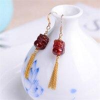 Original design US imports earrings Natural garnet tassel ear hooks