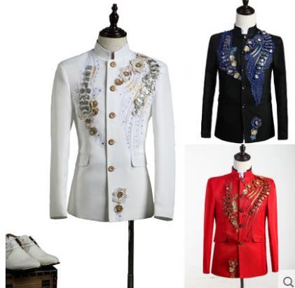 Men Chinese Tunic Suits Designs Sequins Embroidery Stage Costumes For Singers Men Blazer Dance Clothes Jacket Star Style Dress