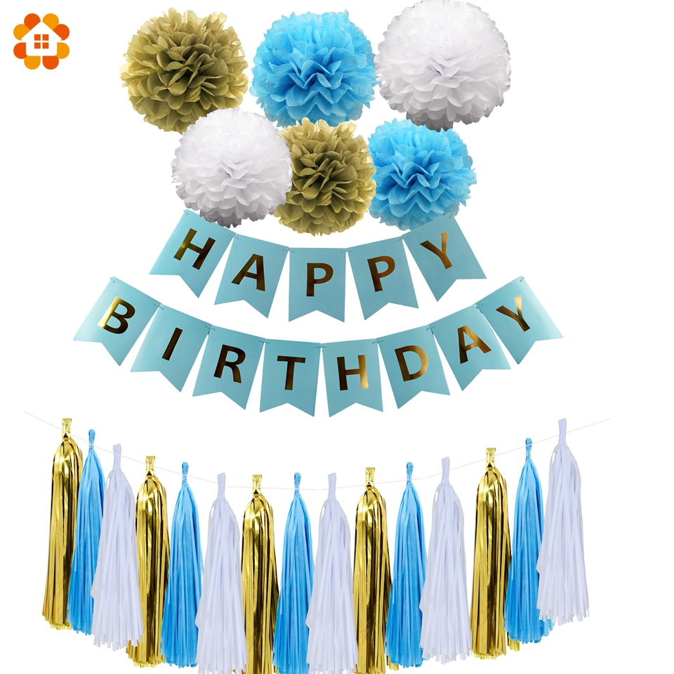 1Set Blue Paper Crafts Happy Birthday Banner Garlands Paper Flower Decoration Bunting Birthday For Kids Birthday Party Supplies