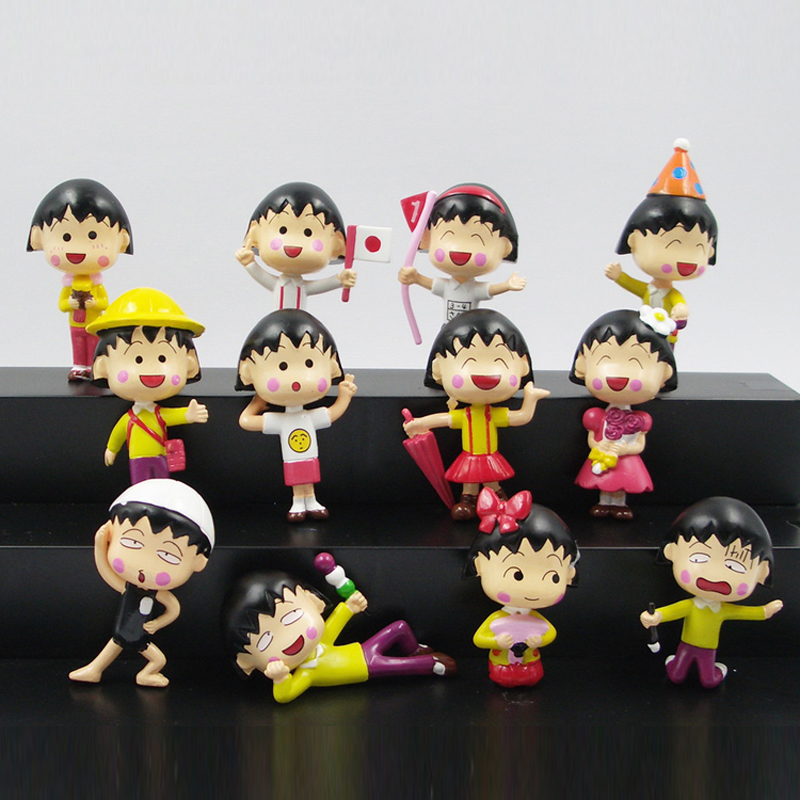 US $11 52 10% OFF|PVC Anime Cartoon 12 Styles Happy Year Chibi Maruko Chan  Action Figure Pendant Keychain Sakura Momoko Model Toy Kids Gift-in Action