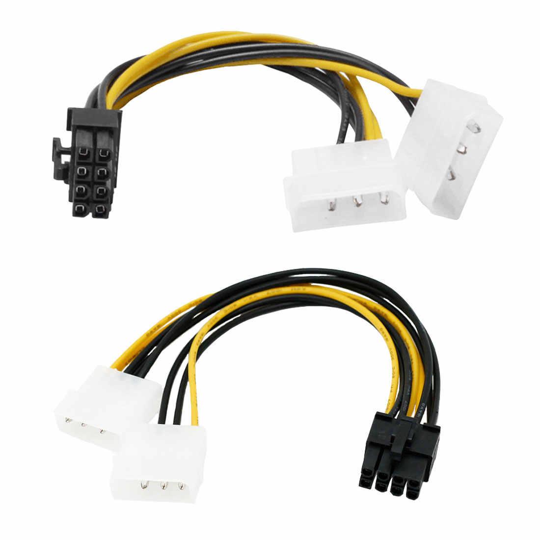 6 inç 8 Pin PCI Express erkek çift LP4 4Pin Molex IDE güç kablosu adaptörü kartı 20cm