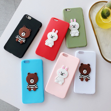Cute cartoon brown bear Bunny rabbit Phone Case for iphone 6 7 8Plus X xs Max rall inclusive TPU Cover x 8plus