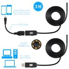 5.5 MM Lente Borescope Cable USB Serpiente Del Tubo de Cámara de Inspección Endoscopio IP67 A Prueba de agua 6 LEDS para OTG Android Teléfonos Inteligentes