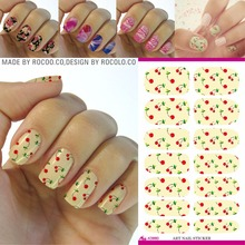 Rocooart K5660 Light Yellow Water Transfer Nail Art Stickers Fresh Cherry Manicure Decorations Nail Decals Fruits Nail Wraps
