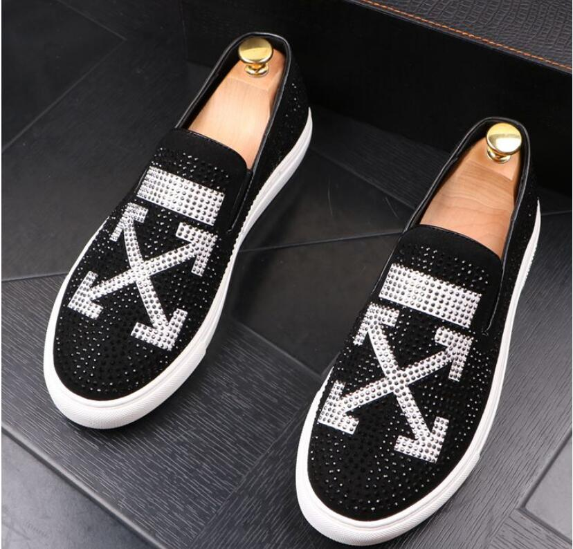 Men Glitter Shoes Mens Fashion rhinestone Casual Flats Men's Designer Dress Shoes Sequined Loafers Men's Platform Driving Shoes 26
