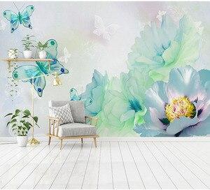 3D бабочки и цветные цветы, обои для гостиной, спальни, обои, абстрактные обои для детской комнаты