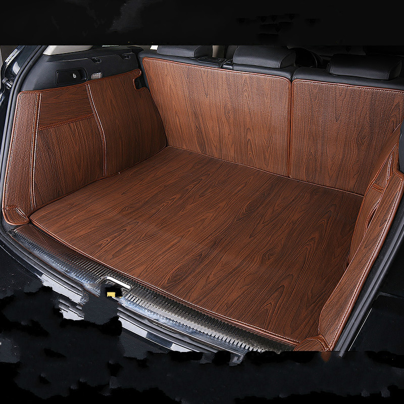 Full Covered Wood Grain Waterproof Boot Carpets Durable Custom Car Trunk Mats for Skoda Octavia RS Yeti Superb Kodiaq Karoq