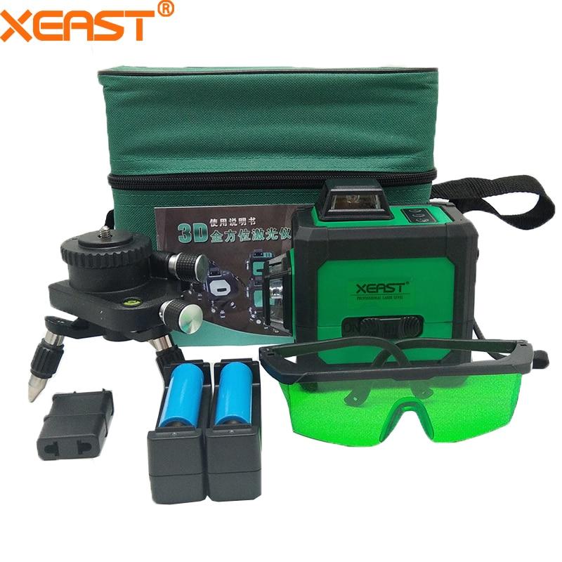 XEAST Bas prix 360 Rotatif 3d 12 lignes Vert Faisceau Laser Niveau Machine mur niveaux croix ligne laser niveau mètre