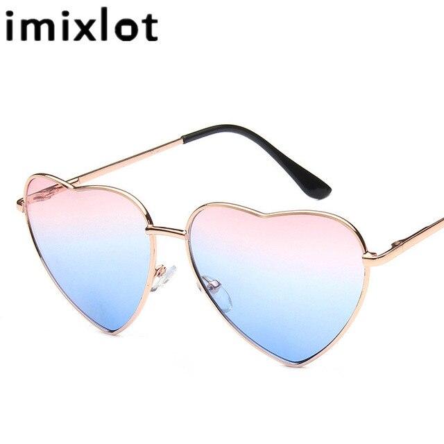 Occhiali da sole a forma di cuore Moda Donna Uomo occhiali da sole oculos de sol in metallo ri2aUD