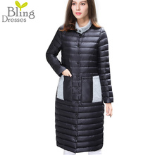 2016 Autumn Women's Long Down Coat 90% White Duck Down Snow Winter Jacket Stand Collar Patchwork Long Sleeve With Buttons