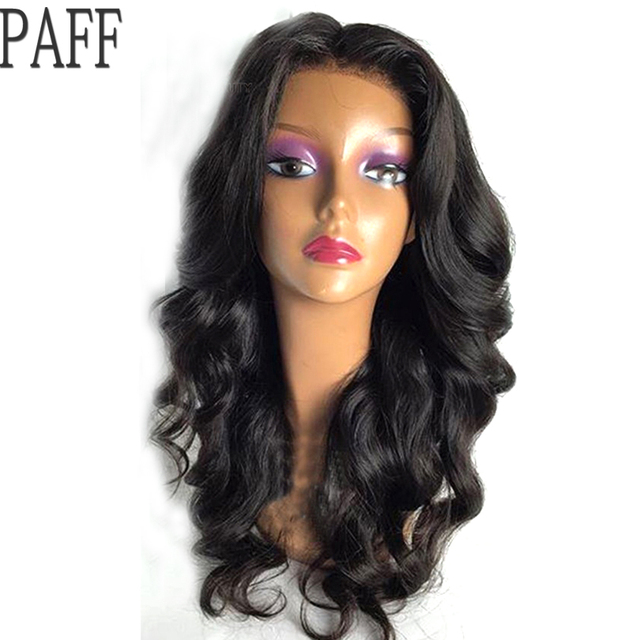 Full Lace Human Hair Wigs For Black Women Glueless Middle Part Brazilian Hair Body Wave Wig Natural Baby Hair  Non Remy PAFF