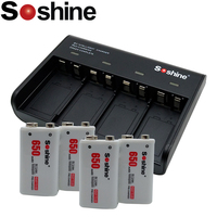 New Soshine 9V battery 4 Slot Charger with 4 pcs 650 mah battery Bateria lithium ion polymer rechargeable 9V battery