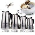 Портативный Эспрессо кофеварка Moka Pot из нержавеющей стали чайник для кофе для Pro Barista 100 мл/200 мл/300 мл/450 мл