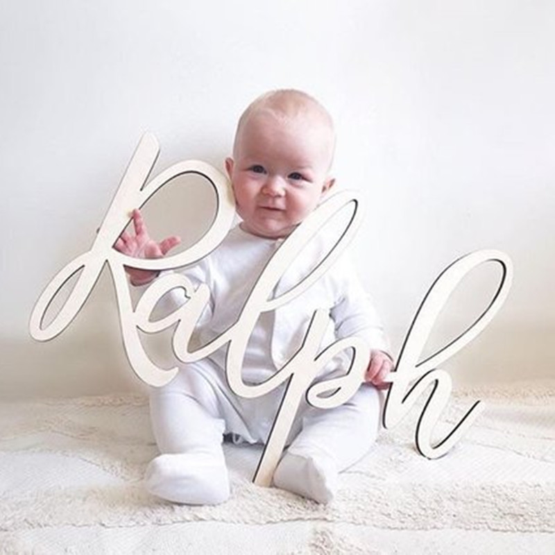 Personalized Wooden Name Sign Nursery Wall Art Decor Baby Shower Gift Wedding Sign Kids Room Decor Custom Last Name Sign