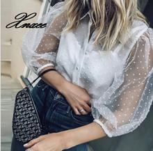 2019 spring and summer new tops hot womens perspective lanterns sleeves collar shirt
