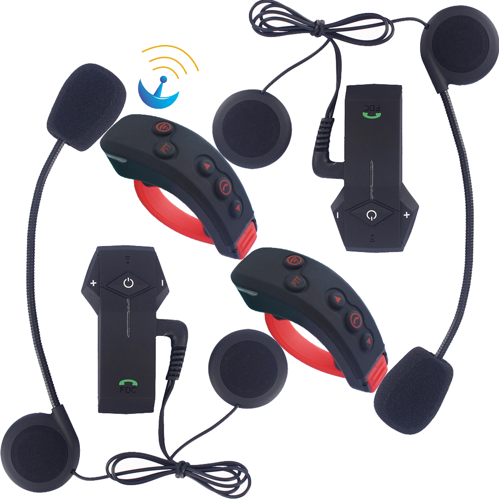 FreedConn Motorcycle Headset Helmet Bluetooth Intercom 3 Riders 1000M Interphone With NFC FM Radio + Remote Control Hand Shank