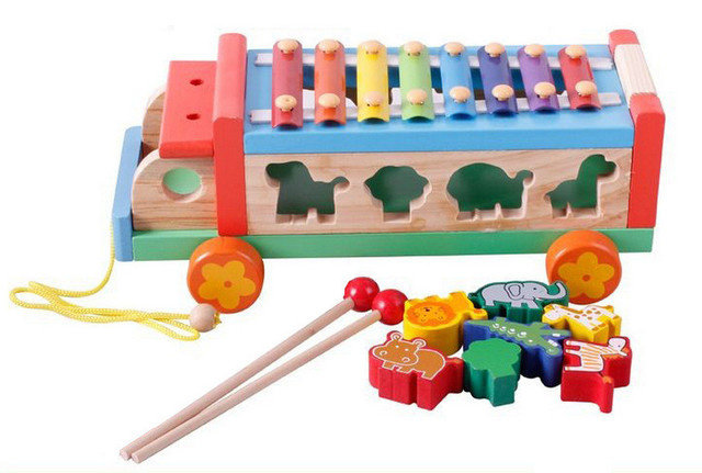 Baby Toys 3 In 1 Xylophone Trailer Blocks Set Wooden Toys Montessori