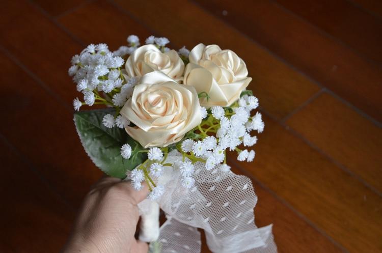 Қолмен жасалған Silk Satin Роза гүлі 3 - Үйлену керек-жарақтары - фото 2
