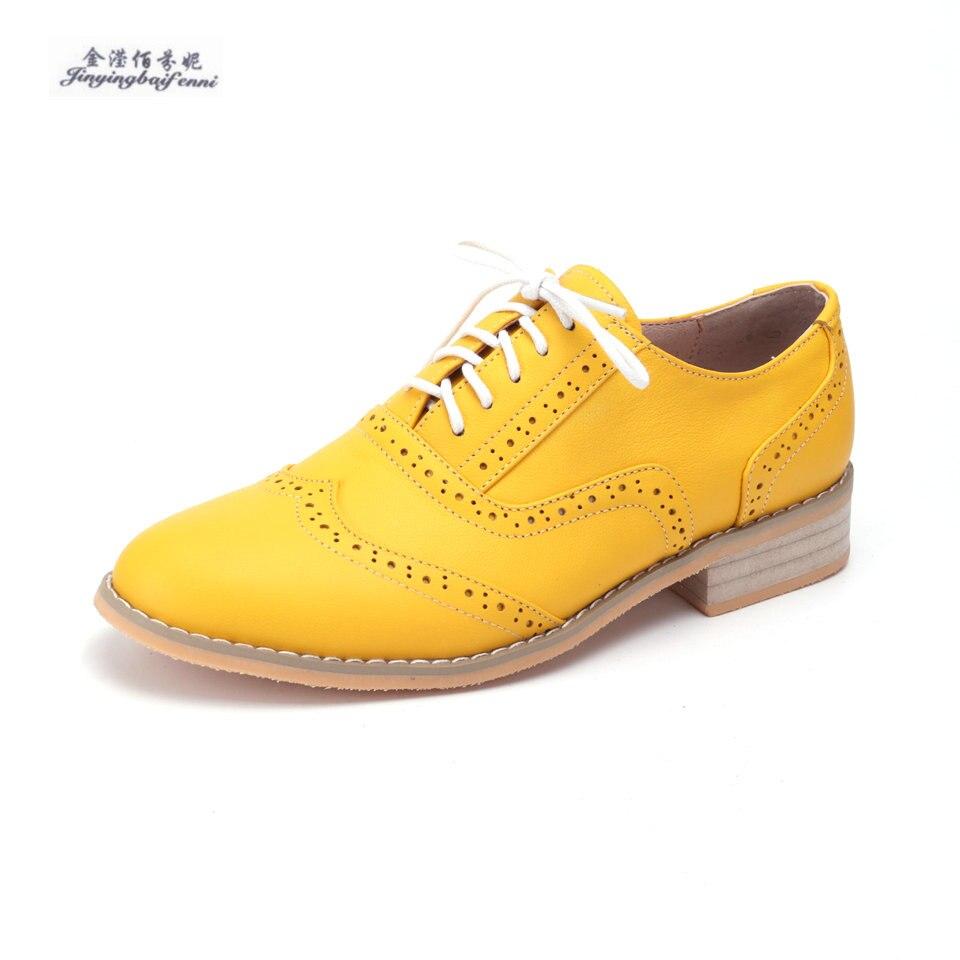 2018 Neue Gelb Echtem Leder Oxford Schuhe Weibliche Uns Größe 4-15 Handgemachten Frauen Schuhe Lace-up Brogues Oxford Wohnungen Zapatos Moderater Preis