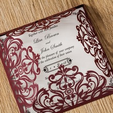 Wishmade 50pcs Laser Cutting Wedding Invitations Cards Marroon Burgundy Elegant Glitter invitation Cards,Free DHLshipping AW8502