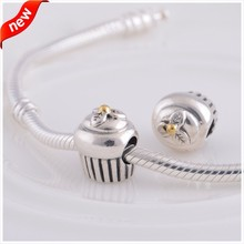 925 Sterling-Silver-Jewelry Cupcake Charm with 14K Gold Fits Bracelets Charms Silver Beads for Jewelry Making LW017BK