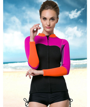 2019 NEW BRAND 2mm Spring Long Sleeve Top Wetsuit Jacket For Women Arrival Neoprene Front Zip Adut Wetsuits SmoothSkin